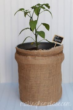 Hide Garden Buckets with a DIY Burlap Bag | Making Home Base
