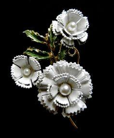 Antique Brooch 1950  Carnation flower exquisite by RAKcreations