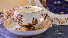 The Miramare Castle is a castle, built for Austrian Archduke Maximilian Habsburg and his wife. Painted with the harmony of rich gold and oriental blue. Maximilian I, Archduke, Tea Service, Cup And Saucer, Hot Chocolate, Austria, Tea Cups, Trieste, Emperor