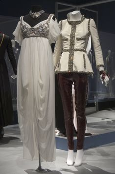 """LEFT: Alexander McQueen """"Empire"""" style dress in off white silk chiffon gauze and rhinestones, Fall 2008   RIGHT: Evening jacket by Karl Lagerfeld for Chanel in ivory silk faille with embroidered stone trim and fuchsia sequined leggings by Alexander McQueen  {From the Collection of Daphne Guinness; The Museum at FIT}   simply perfeeect <3"""