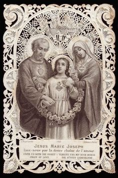 Hearts of Jesus Mary and Joseph - rare find holy card