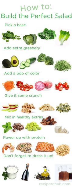 How to build the perfect salad. Or for an easier idea...just pick up one of our Crazy Fresh salads in your local produce section!