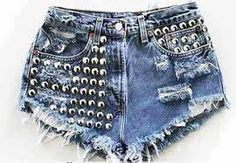 Reconstructed vintage tie dyed cut off denim shorts. High waisted with button up fly. Denim hand distressed, frayed, and shredded. Studded Shorts, Studded Denim, Diy Shorts, Levi Shorts, Denim Fashion, Fashion Outfits, Womens Fashion, Original Vintage, Destroyed Jeans