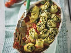 Túrós-bazsalikomos tésztatekercsek Recept képpel - Mindmegette.hu - Receptek Artichoke, Relleno, Ricotta, Sprouts, Vegetables, Desserts, Food, Dishes, Cooking