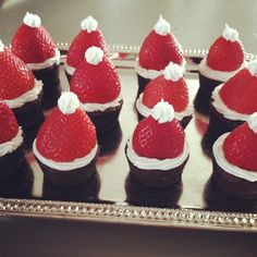 Brownie Bite Santa Hats