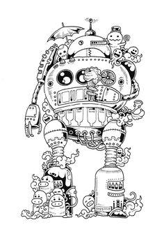 Doodle Invasion Coloring Book (part I) by Kerby Rosanes facebook l dA l instagram l shop l behance l tumblr