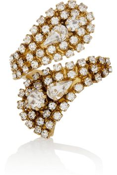 Erickson Beamon | Hello Sweetie gold-plated Swarovski crystal ring | NET-A-PORTER.COM