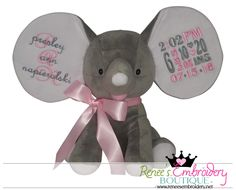 Personalized Stuffed Elephant Dumble Elephant New Born Baby