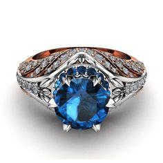 Blue Diamond Engagement Ring Unique Halo Ring Two Tone Gold Engagement Ring Unique Diamond Engagement Rings, Unique Rings, Diamond Rings, Gemstone Rings, Natural Blue Diamond, Natural Diamonds, Three Stone Rings, Halo Rings, Diamond Shapes
