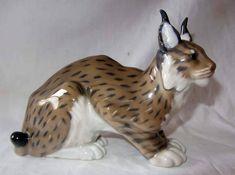 RARE Royal Copenhagen 1329 Lynx Figurine, Peter Herold Fact 1st MINT