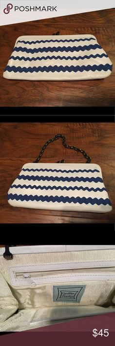 Cynthia Rowley Blue and White Clutch Cynthia Rowley Blue and White Clutch with chain Cynthia Rowley Bags Clutches & Wristlets