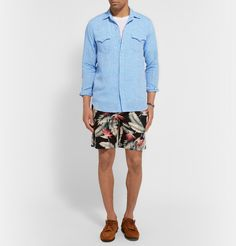 Freemans Sporting ClubSlim-Fit Floral-Print Linen and Cotton-Blend Shorts