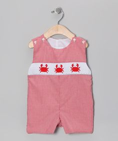 Take a look at this Red Gingham Crab John Johns - Infant & Toddler by Sweet Teas Children's Boutique on #zulily today!