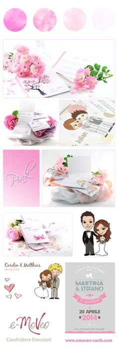 Wedding Invitation Cards by e-MoVeo Cards.  Hochzeit Pink - Matrimonio in rosa www.emoveo-cards.com