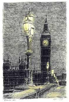 Stephen Wiltshire, Big Ben on a winter evening. Stephen was diagnosed with autism at age 3, and draws detailed cityscapes, sometimes after a single helicopter ride.