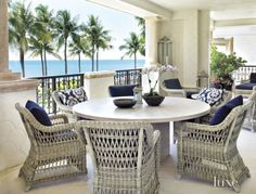 Modern Neutral Veranda with Round Table