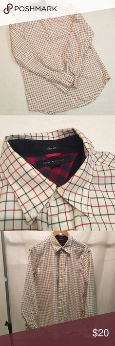 TOMMY HILFIGER Men's slim fit bottom down shirt, inside collar is trimmed with courdory. For the cool guy 😎 Tommy Hilfiger Shirts Casual Button Down Shirts