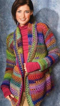 Colourful crochet cardigan