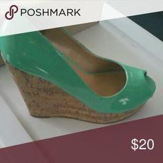 Teal patent leather platform shoes Teal green shoes, club ready! Shoe Dazzle Shoes Platforms
