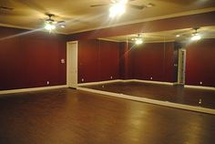 Since its a childhood dream that my father broke his promise to full fill, when we build our next house, it WILL have a dance studio in the basement! Like this but with white walls and recessed lighting