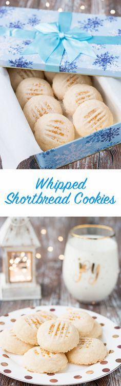 Every bite of these rich and buttery cookies will melt in your mouth! #shortbreadcookies #whippedshortbread #buttercookies #Christmascookies