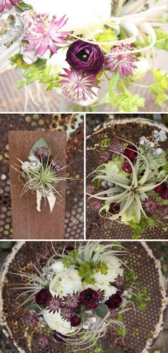 by Pollen Floral Art  tillandsias, astrantia, ranunculus - again, amazing colors and textures from this wonderful floral artist!  yourpersonalceremony.com