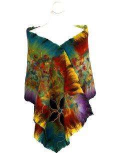 Nunofelted scarf multicolor unique handmade by ArtMode on Etsy