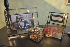 Vintage inspired leaded glass frames and boxes.