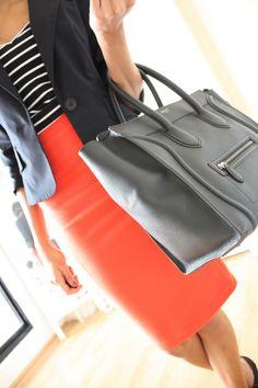 Stripes, blazer, bold skirt, and Celine bag Fashion Moda, Work Fashion, Womens Fashion, Business Outfits, Business Fashion, Business Wear, Office Outfits, Business Casual, Looks Style