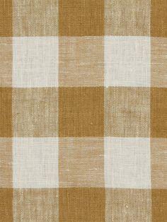 Robert Allen 'Moyen Check' in Nugget - golden brown and white linen buffalo plaid/gingham fabric