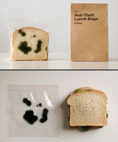 Anti-Theft Lunch Bags...haha this is hilarious!