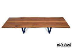 Etz & Steel Gatsby Live Edge Table Midnight Navy Base #woodslab #woodwork #tables #diningtable #liveedge #interior