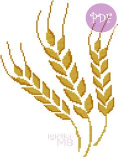 Wheat digital pattern pdf cross stitch chart harvest summer autumn thanksgiving crops by LittlePolishNeedle on Etsy Cross Stitch Designs, Cross Stitch Patterns, Polish Folk Art, Scandinavian Folk Art, Floral Border, Digital Pattern, Crochet Flowers, Cross Stitch Embroidery, Crochet Stitches