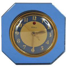 Blue Mirror Art Deco Telechron Clock