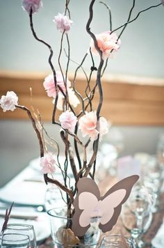 My DIY wedding decoration ... centerpiece: I can probubly just gather twigs all over and glue the flowers in place