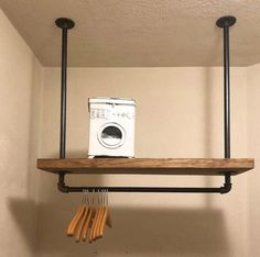 Laundry Room Ideas Discover Laundry Room Storage Rack Deep Industrial PIpe Clothes Rack Overhead Towel and Clothes Storage Rustic Organizer Iron Pipe Rack Laundry Room Shelves, Laundry Room Remodel, Small Laundry Rooms, Laundry Room Organization, Laundry Room Design, Laundry Organizer, Laundry Closet, Laundry Drying, Rustic Laundry Rooms