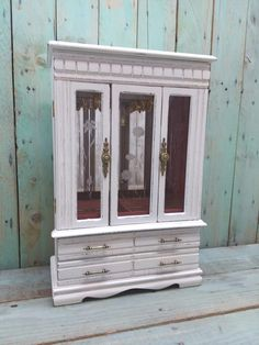 Large Shabby Chic Rustic Vintage Wooden Jewelry Box Armoire Painted Antique  White And Distressed Refurbished Upcycled