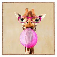 DENY Designs Coco De Paris Clever Giraffe With Bubblegum Framed Wall Art