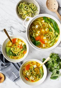 This Golden Turmeric Noodle Miso Soup is great for winter nights It s warming healing and healthy made with zucchini and rice noodles tofu turmeric ginger miso Love and Lemons soup turmeric ginger plantbased cleaneating Best Zucchini Recipes, Whole Food Recipes, Korma, Biryani, Vegetable Noodles, Rice Noodles, Zucchini Noodles, Healing Soup, Yakisoba