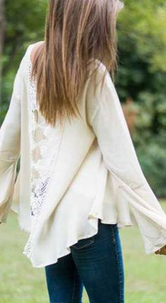 White Bohemian Lace Blouse hair color!