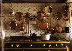 copper pots and deft tiles - LOVE
