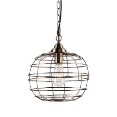 Enhance the look of your entryway by installing this durable Southern Enterprises Medras Antique Bronze Integrated LED Pendant. Cage Pendant Light, Industrial Pendant Lights, Contemporary Pendant Lights, Globe Pendant, Modern Chandelier, Pendant Lighting, Modern Industrial, Light Bulb Types, Diffused Light