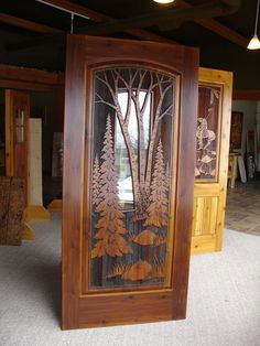 Custom sand carved wood doors are ideally suited for residential homes, lake homes, or cabins. Cool Doors, The Doors, Unique Doors, Front Doors, Wood Entry Doors, Entrance Doors, Wooden Doors, Wooden Glass Door, Indoor Barn Doors
