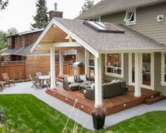 A Patio Deck Design will add beauty to your home. Creating a patio deck design is an investment that will […] Small Backyard Patio, Backyard Patio Designs, Backyard Covered Patios, Back Yard Patio Ideas, Backyard Porch Ideas, Porch Designs, Backyard Kitchen, Pergola Ideas For Deck, Deck Overhang Ideas