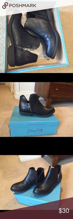 Black ankle booties NIB Blowfish booties, never worn! Super cute and comfortable, just a bit too narrow for my foot if I want to wear socks (and living in CO, socks are a necessity! ☃). True to size, I think my foot is on the wider side of medium width. Blowfish Shoes Ankle Boots & Booties