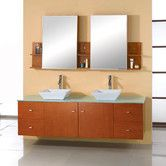 "Found it at AllModern - Ultra Modern Clarissa 61"" Double Bathroom Vanity Set with Glass Top in Honey Oak"