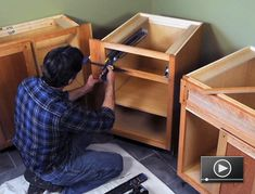 Learn how to install new base cabinets for a small kitchenette.