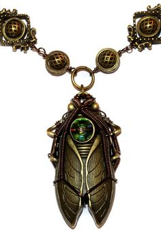 Steampunk Jewelry - NECKLACE - Cicada by CatherinetteRings