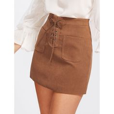 Grommet Lace Up Dual Pocket Skirt ❤ liked on Polyvore featuring skirts, lace up skirt, brown skirt, lace up front skirt and eyelet skirt