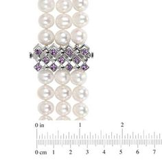 7.5 - 8.0mm Cultured Freshwater Pearl and Amethyst Triple Strand Necklace in Sterling Silver  - Peoples Jewellers
